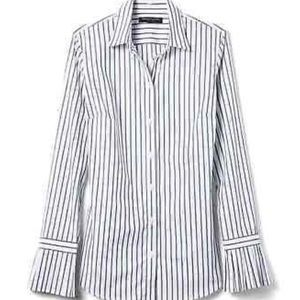 Banana Republic Pleated Sleeve Striped Blouse